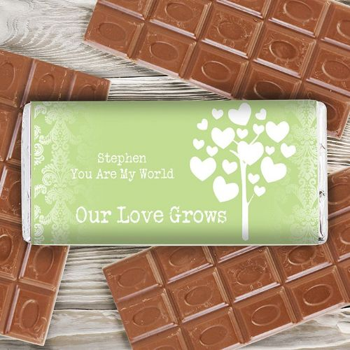 Personalised Love Grows Green Chocolate Bar